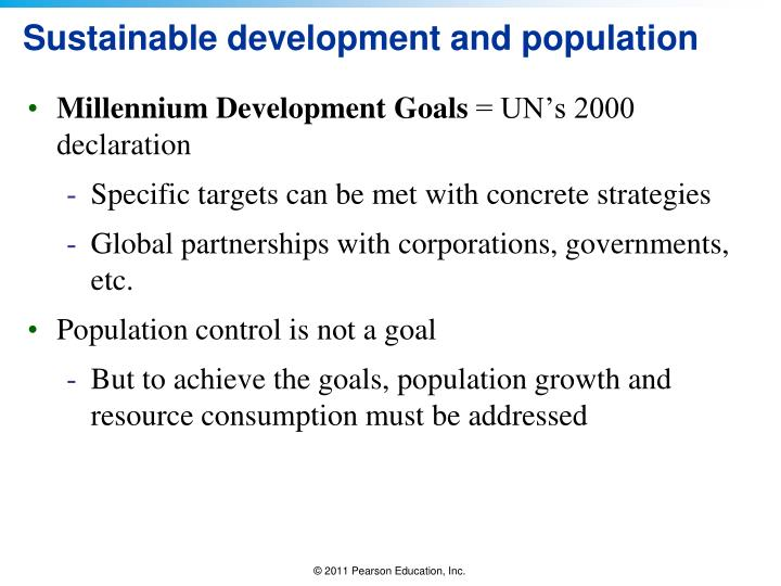 Sustainable development and population