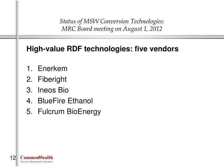 Status of MSW Conversion Technologies: