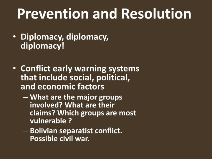 Prevention and Resolution