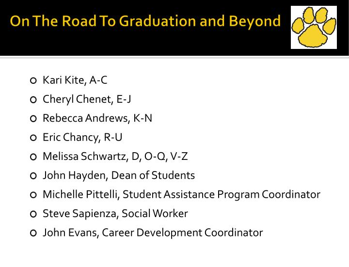 on the road to graduation and beyond n.