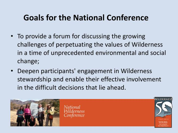 Goals for the national conference