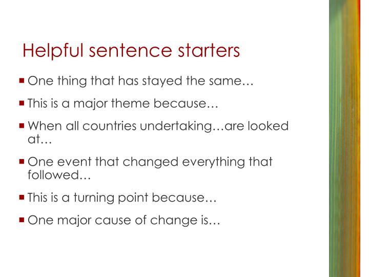 Helpful sentence starters