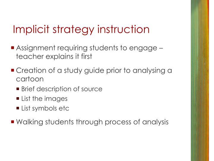 Implicit strategy instruction