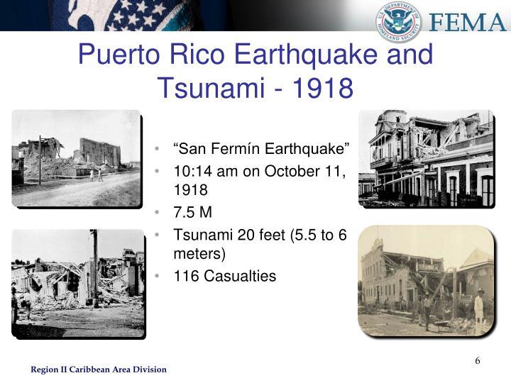 Puerto Rico Earthquake and Tsunami - 1918
