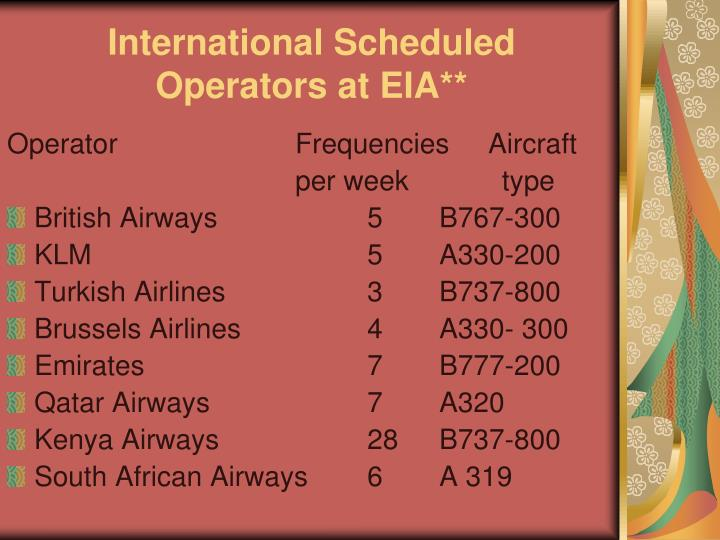 International Scheduled Operators at EIA**