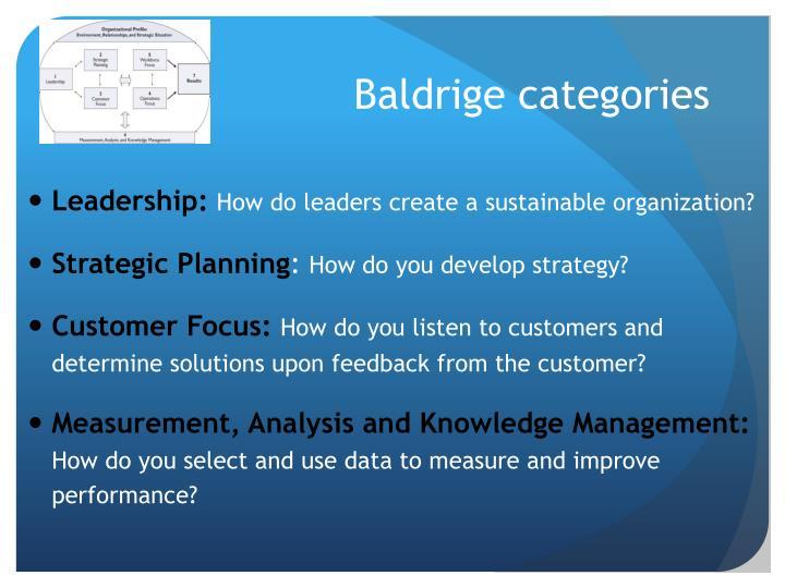 Baldrige categories