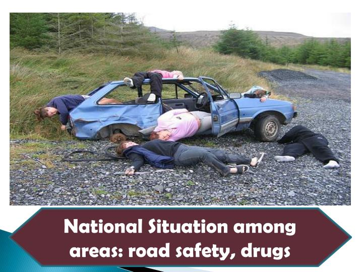 National Situation among areas: road safety, drugs