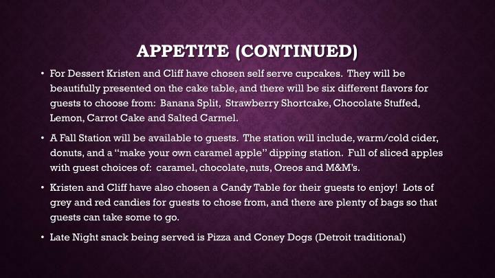 Appetite (continued)