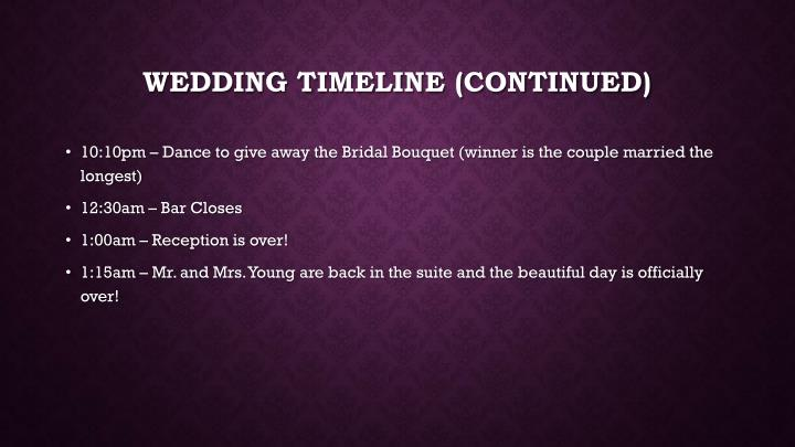 Wedding timeline (continued)