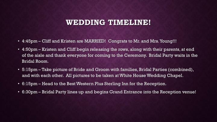 Wedding timeline!