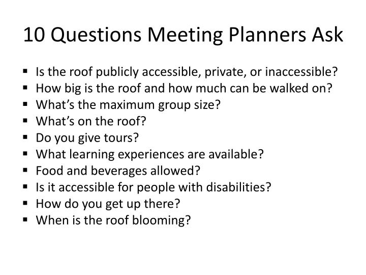 10 Questions Meeting Planners Ask