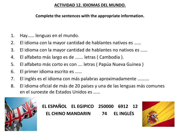ACTIVIDAD 12. IDIOMAS DEL MUNDO.