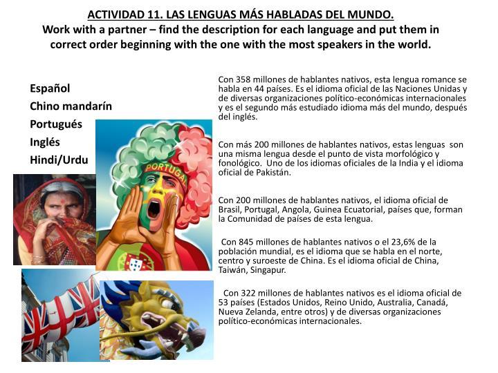 ACTIVIDAD 11. LAS LENGUAS MÁS HABLADAS DEL MUNDO.