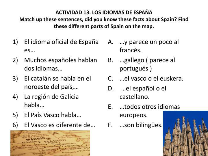 ACTIVIDAD 13. LOS IDIOMAS DE ESPAÑA