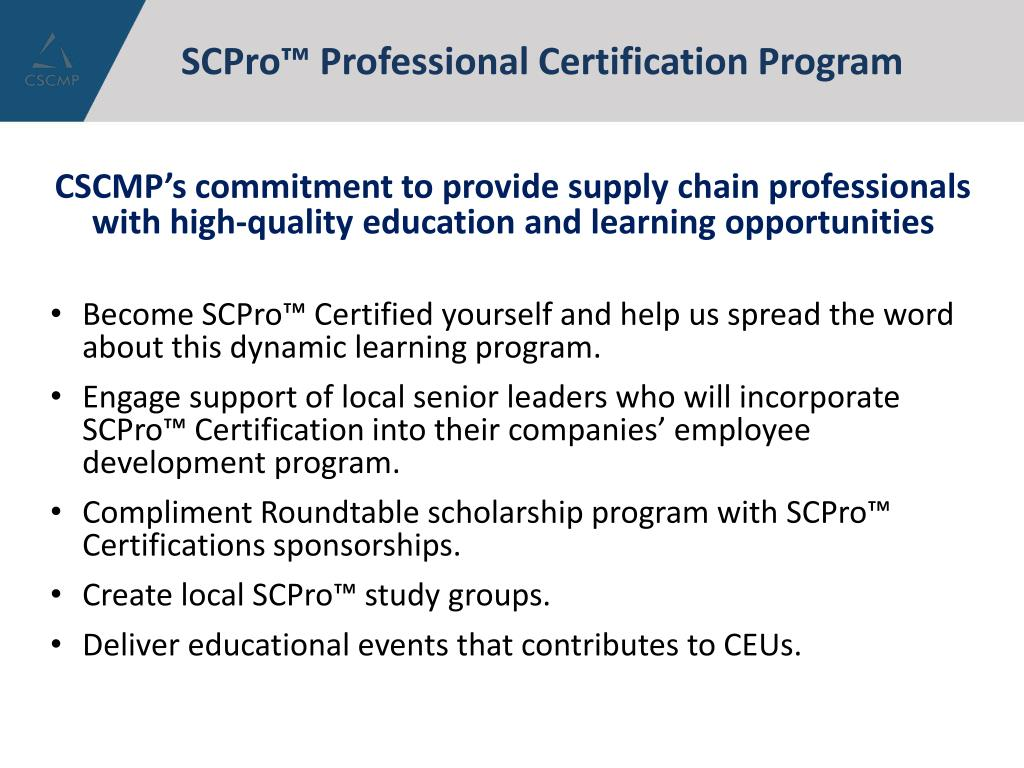 cscmp scpro program certification roundtables professional ppt powerpoint presentation