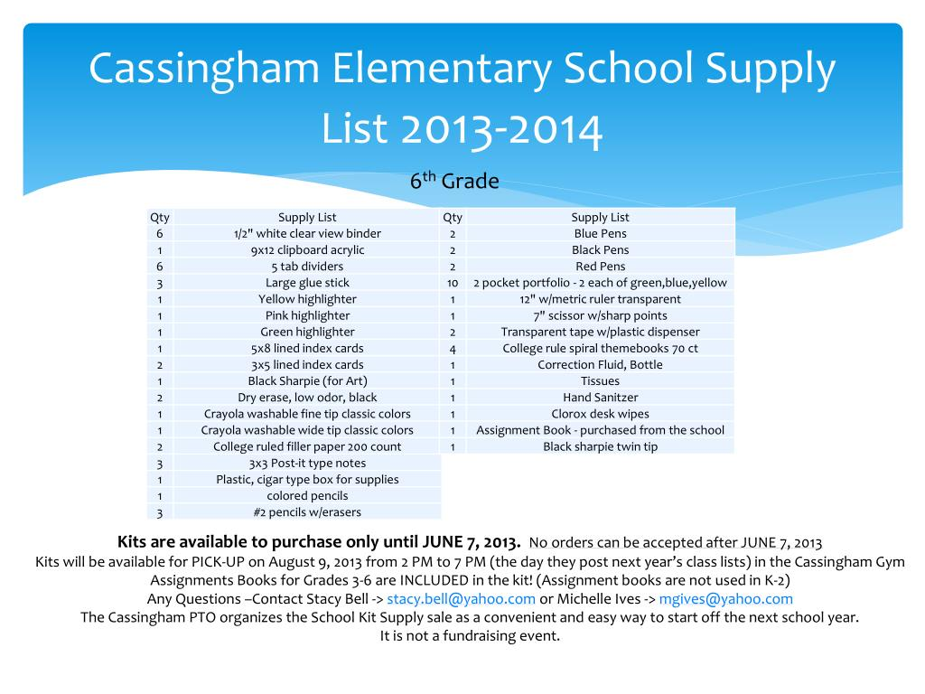 PPT - Cassingham Elementary School Supply List 2013-2014 PowerPoint