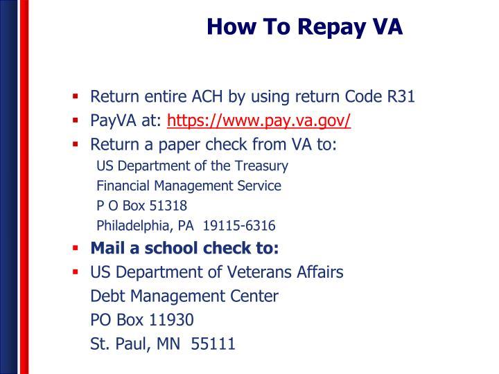 How To Repay VA