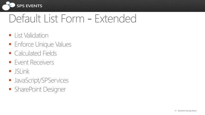 Default List Form - Extended