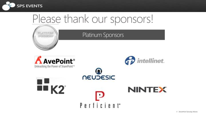 Please thank our sponsors