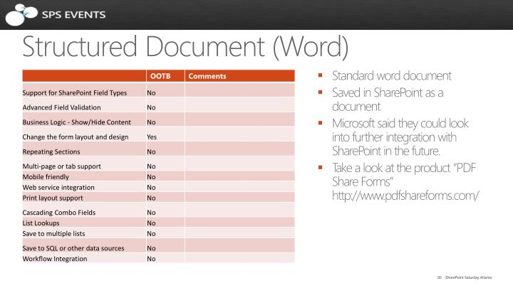 Structured Document (Word)