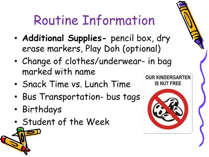 Routine information