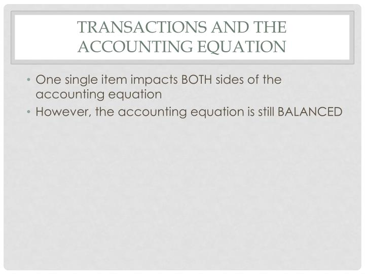 Transactions and the accounting equation