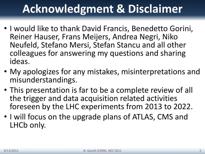 Acknowledgment disclaimer