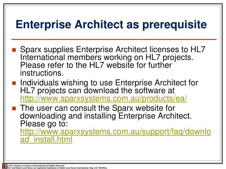 Enterprise Architect as prerequisite
