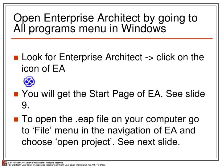 Open Enterprise Architect by going to All programs menu in Windows