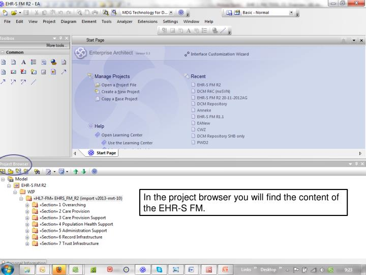 In the project browser you will find the content of the EHR-S FM.