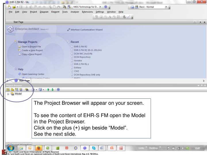 The Project Browser will appear on your screen.