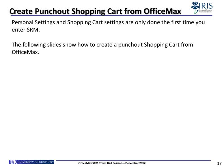 Create Punchout Shopping Cart from OfficeMax
