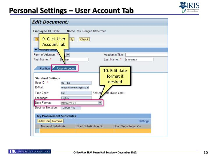 Personal Settings – User Account Tab