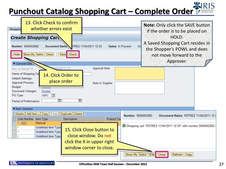 Punchout Catalog Shopping Cart – Complete Order