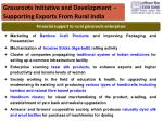 grassroots initiative and development supporting exports from rural india