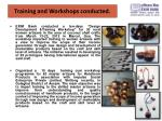 training and workshops conducted