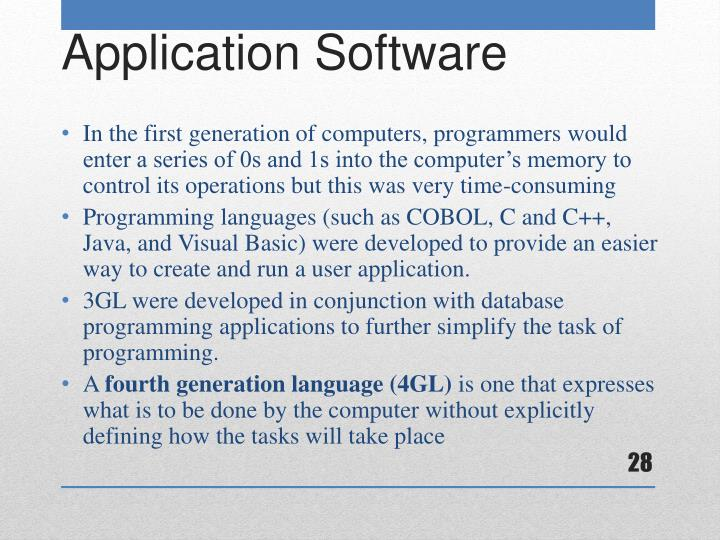 In the first generation of computers, programmers would enter a series of 0s and 1s into the computer's memory to control its operations but this was very time-consuming