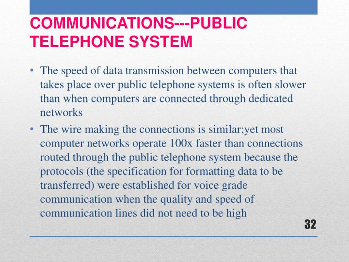 The speed of data transmission between computers that takes place over public telephone systems is often slower than when computers are connected through dedicated networks
