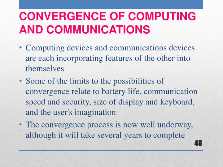 Computing devices and communications devices are each incorporating features of the other into themselves