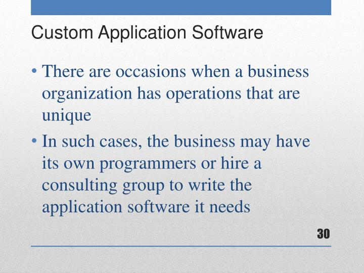There are occasions when a business organization has operations that are unique