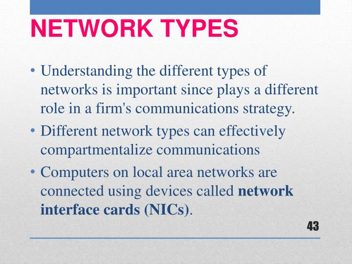 Understanding the different types of networks is important since plays a different role in a firm's communications strategy.