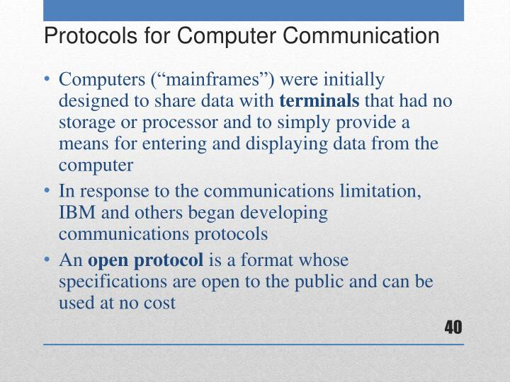 """Computers (""""mainframes"""") were initially designed to share data with"""