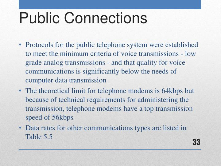 Protocols for the public telephone system were established to meet the minimum criteria of voice transmissions - low grade analog transmissions - and that quality for voice communications is significantly below the needs of computer data transmission