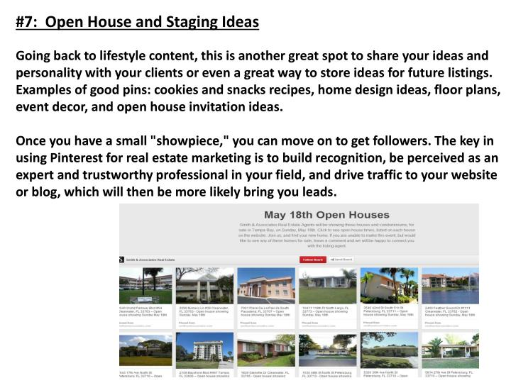 #7:  Open House and Staging Ideas