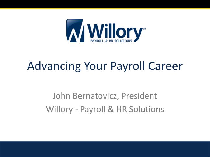 advancing your payroll career n.