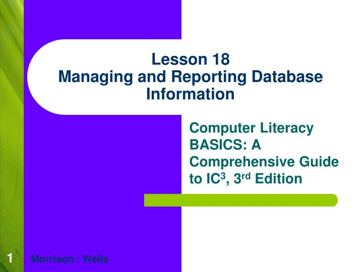 lesson 18 managing and reporting database information n.