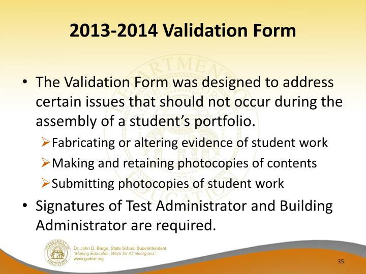 2013-2014 Validation Form