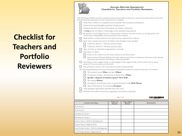 Checklist for Teachers and Portfolio Reviewers