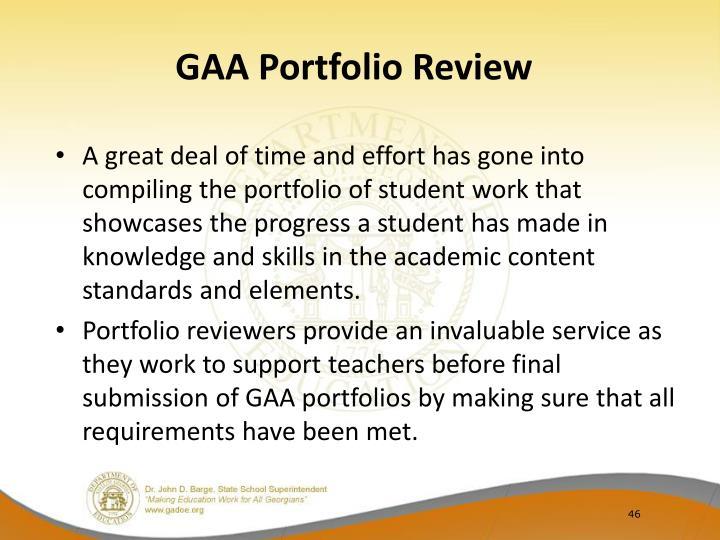GAA Portfolio Review