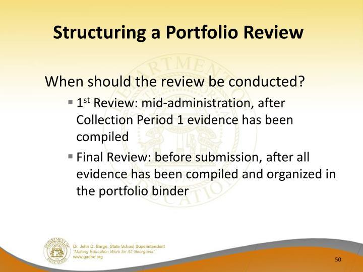 Structuring a Portfolio Review